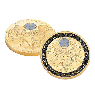 """Sniper """"You Can Run, But You Will Only Die Tired"""" Challenge Coin Gift Collection"""