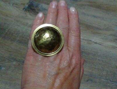 Hammered Brass Huge Chunky Dome Ring Adjustable