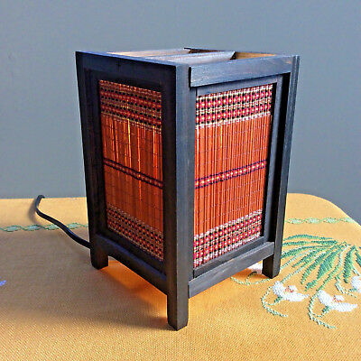 Asian Oriental Japanese Electric Table Lamp Small Wood Reed & Cotton Cord Switch
