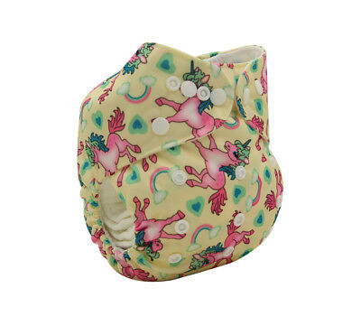 New Reusable Modern Cloth Nappy MCN + FREE insert – Pink Unicorns and Rainbows