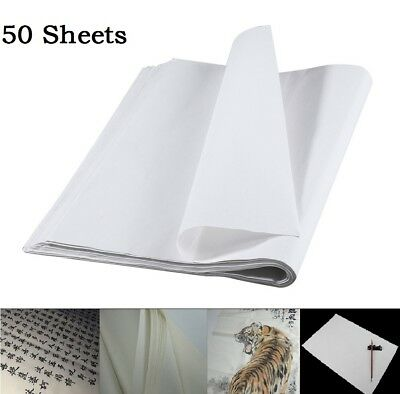 50Pcs White Painting Xuan Paper Rice Paper For Chinese Painting & Calligraphy US