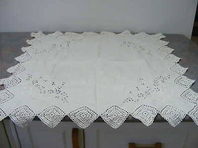 Vintage Linen Hand Embroidered Eyelets & Crochet Tea Cloth - White 75cm - VGC