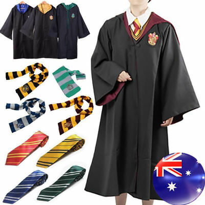 NEW Gryffindor Slytherin Harry Potter Costume Style Robe Cloak+Scarf+Tie Set*-*p