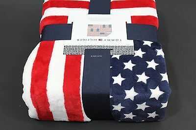 a50d778c New Tommy Hilfiger Soft Plush Throw Blanket USA American Flag Red White Blue
