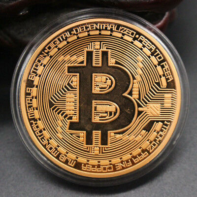 1 Pc Rose Gold Plated Bitcoin Coin Collectible Gift BTC Art Collection Physical