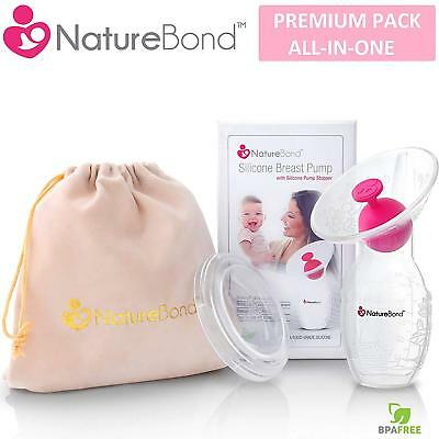 Manual Breast Pump Milk Saver Suction FREE Pump Stopper Cover Lid Pouch Gift Set