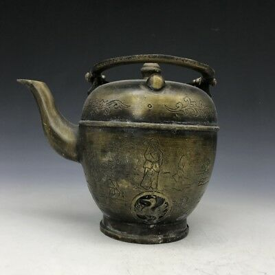 Ancient Chinese bronze hand-carved figure animal pattern teapot   e272