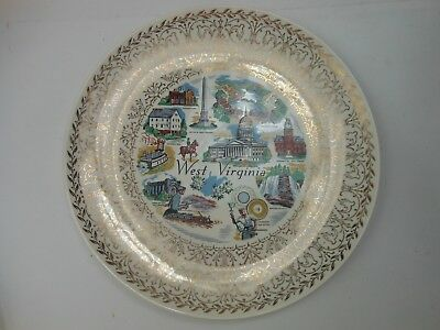 """Vintage WEST VIRGINIA State Plate 10 1/4"""" Glass Blowing Capitol Jackson Mills"""