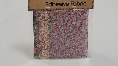 NEW - CRAFT PACK OF 8 - ADHESIVE FABRIC - 9.8cm x 7cm - ASSORTED #1