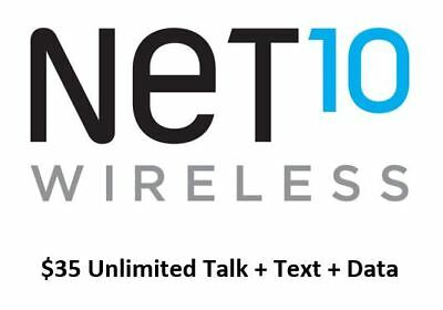 Net10 $35 One Month Plan Refill PIN With Unlimited Talk/Text/Data - FAST REFILL