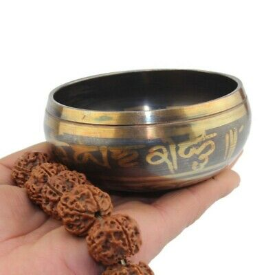 Beautiful Meditation hand hammered Tibetan Yoga Temple Bell Singing Bowl set us