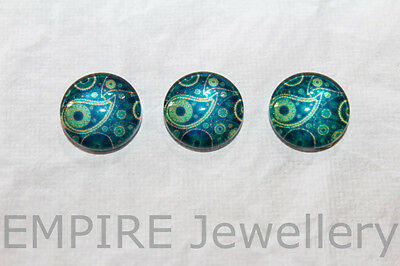 2 x Navy Paisley Pattern 12x12mm Glass Dome Cameo Cabochon Flower