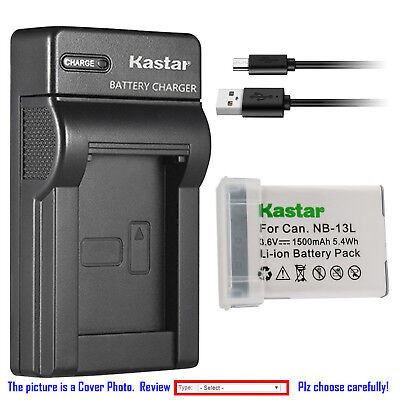 Kastar Battery Slim USB Charger for Canon NB-13L CB-2LH & PowerShot SX740 HS