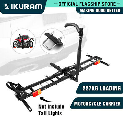 "IKURAM Motorcycle Motorbike Carrier Rack 2"" Towbar Arm Rack Dirt Bike Ramp Steel"