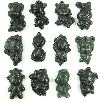 100% China black green jade hand-carved the statue of 12 Small Zodiac Pendant B3