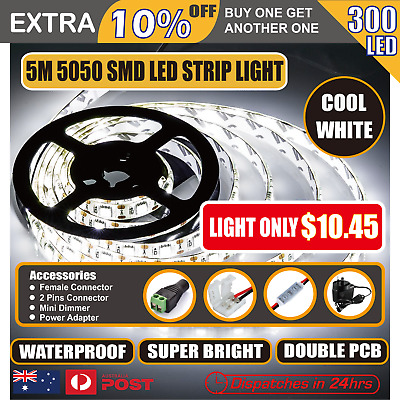LED Strip Lights 5m Flexible Bright  300 LEDs 12v Waterproof 5050 SMD Cool White