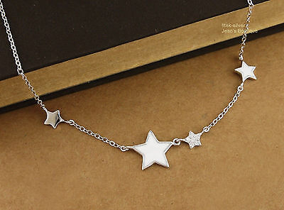 925 Sterling Silver Lovely CZ Star Charm Pendant Necklace Women 40cm A2626