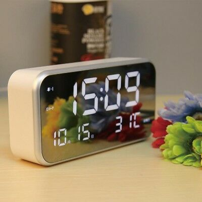 Alarm Clock Large Digital LED Display Portable Modern Battery Operated Mirror UK