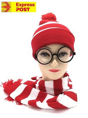 Red White Striped Wenda Waldo Wheres Wally Hat and Scarf Fancy Dress Set Express