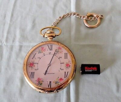 Vintage Wall Hanging Thermometer. : Oversize Gold Pocket Watch