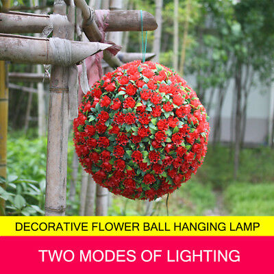 20 LEDs Solar Light Flower Ball Hanging Garden  Ornament Energy Saving Lamp
