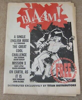 BLAAM! Issue #1, Titan Distributors, contains Neil Gaiman's first published comi