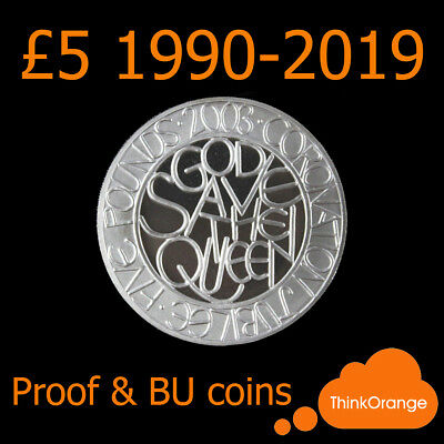 *UK PROOF & BU £5 Five Pound Coins / Crown 1990-2019 - select year*