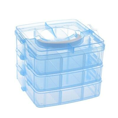 Blue Plastic Empty 3 layer Storage Case Box Nail Art Craft Makeup Q9H2