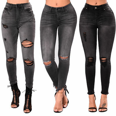 e8513aaf213c0 Womens High Waisted Skinny Jeans Ripped Ladies Jeggings Knee 6 8 10 12 14  16 18