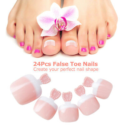 24 Pcs French Full Cover Fake Toe Nail Tips False Toenail Tip for DIY Manicu Set