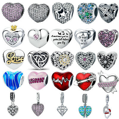 Authentic 925 Sterling Silver Love Heart Charm Bead For European Bracelet Chain