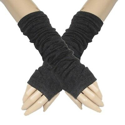 Dark Gray Half finger Elastic Winter Thick Arm Warmers Gloves for Ladies L5G8