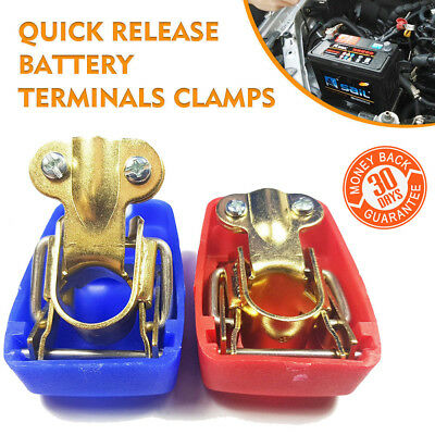 Quick Release Battery Terminals Clamps Pair Car Caravan Low Profile Motorhome