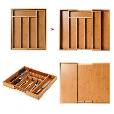 Expandable Bamboo Wooden Cutlery Tray Kitchen Utensil Holder Storage Tidy Drawer