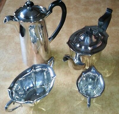 Vintage Silver Plate Tea Set 4 Piece Lovely Condition