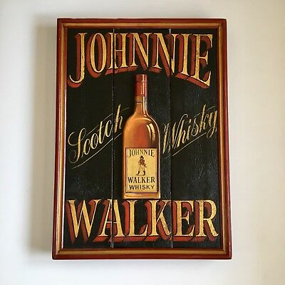 Johnnie Walker Whisky Wooden Hand Painted Sign Raised Bottle Slatted Scotch Bar