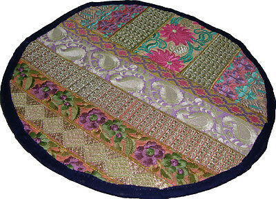 Table Mat/place-Mat Solid Round Indian Multicolor Embroider Sari Patch Work 13""
