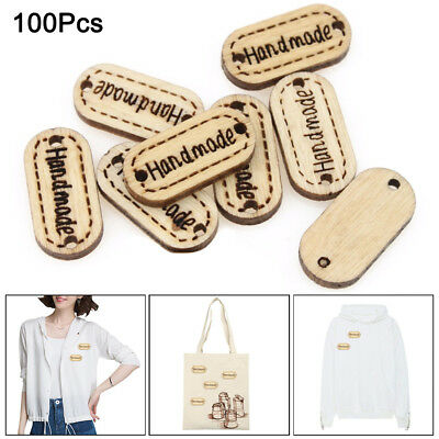 100pcs DIY Handmade 2 Holes Wooden Sign Button Sewing Scrapbook Craft