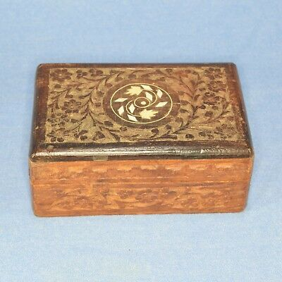 Vintage Decorative Wooden Jewellery Keepsake Box with Mother of Pearl Inlay