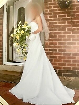 Wedding Dress Used Once 2 Years Old Size 8 Strapless Satin, Net Underskirt, Veil