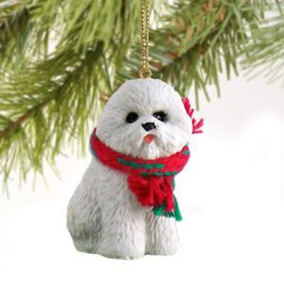 Resin Bichon Frises Tiny One Scarf Ornament