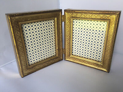 Florentine double photo picture frame wood gesso Italy Italian Gold Wooden Vtg