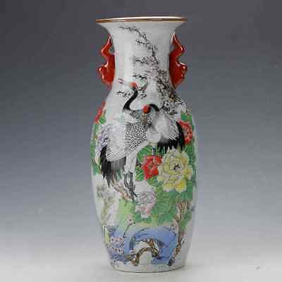 CHINA CRACK GLAZE PORCELAIN HAND-PAINTED CRANE & FLOWER VASE /QIANLONG MARK  c01