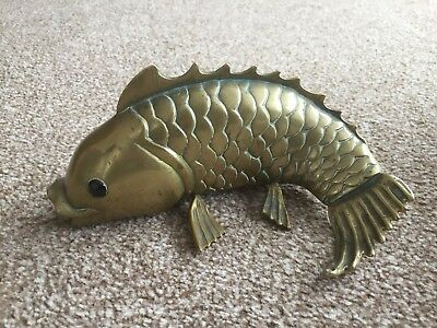 "Old Vintage Cast Solid Brass/Bronze Carp Fish Ornament,paperweight,8"" long"