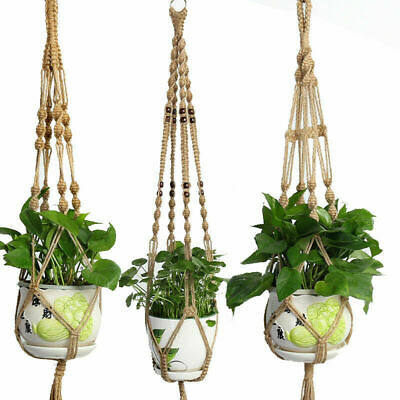 Pot Holder Macrame Plant Hanger Hanging Planter Basket Jute Rope Home Garden Art