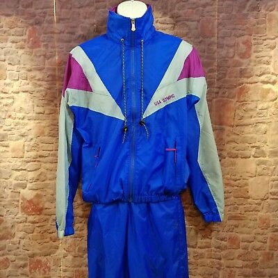 VTG USA Olympics Blue Color Block Nylon Track Wind Suit Pants Med Top Small