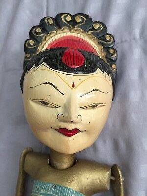 Antique Hand Carved Painted Indonesia Wayang Golek Wood Stick Puppet Female
