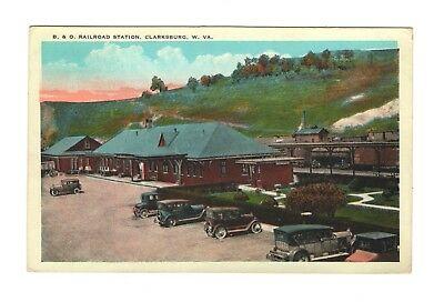 Vintage 1930 B. & O. Railroad Station Train Depot Clarksburg W. Va. Postcard