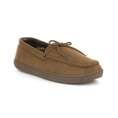 Zone - Mens Faux Suede Moccasin Slipper in Tan - Sizes 6,7,8,9,10,11,12,13