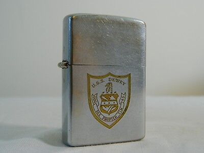 1982 US Navy USS Dewey DDG 45 PAX PROPTER VIM Silver Zippo Lighter 5 Barrel Ship